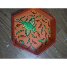 HEXAGON SHAPE TRAY PAINTING